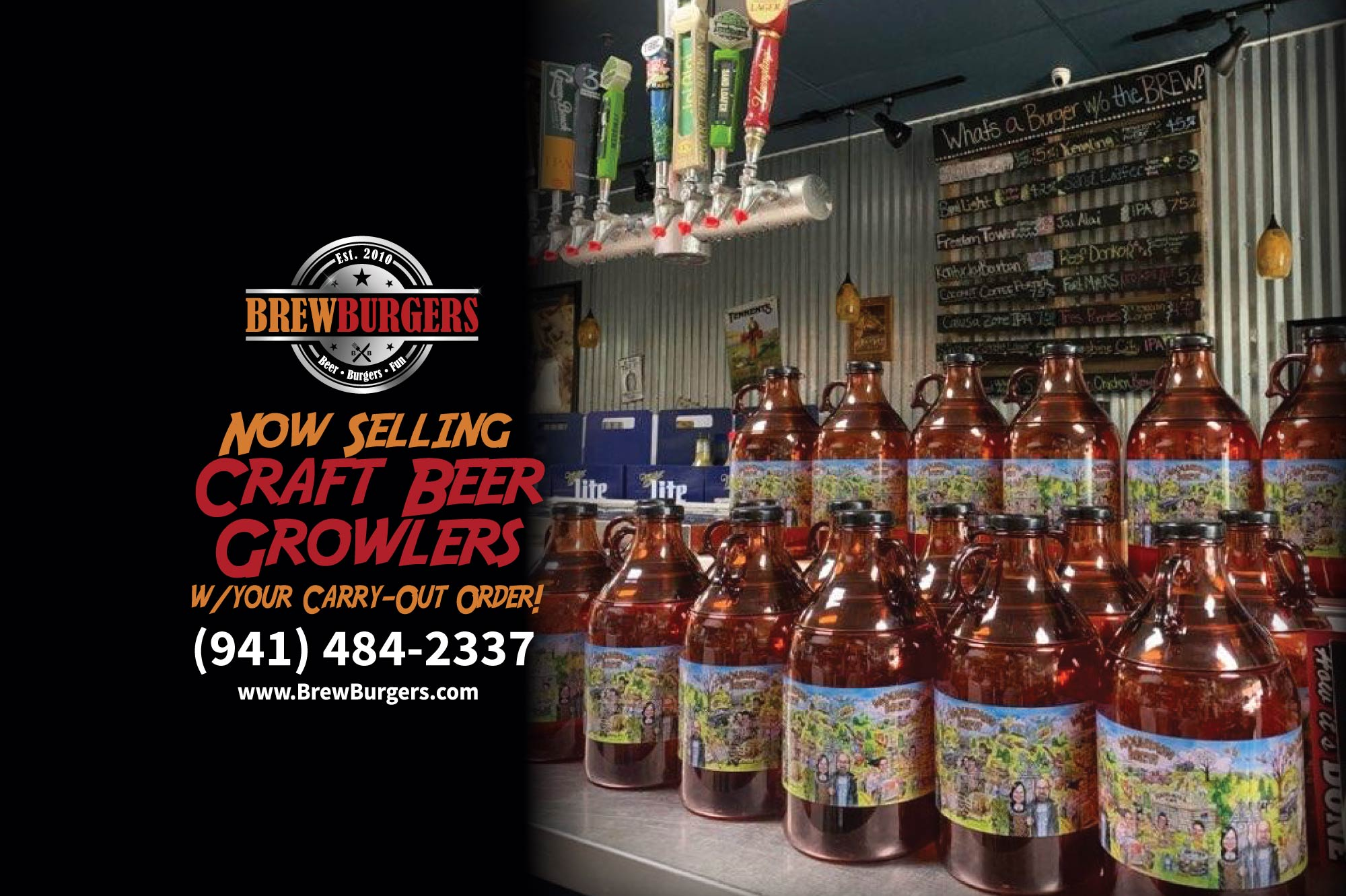 this is a photo of craft beer growlers with a message stating